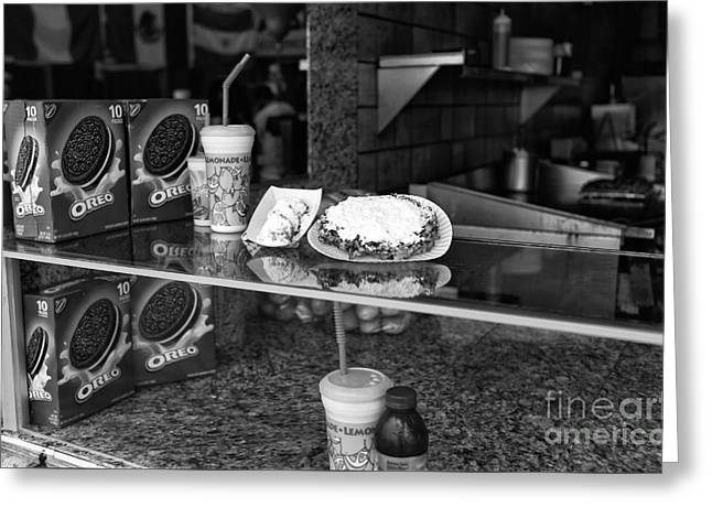 Oreo Photographs Greeting Cards - Fried Dough at Seaside Heights mono Greeting Card by John Rizzuto