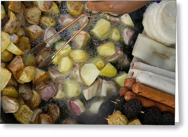 Chinese Market Greeting Cards - Fried Potatoes And Snacks On The Grill Greeting Card by Panoramic Images