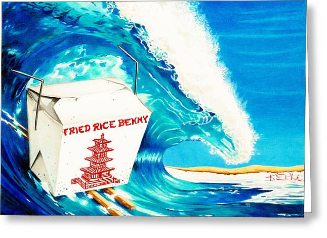 Surfing Art Drawings Greeting Cards - Fried Rice Benny Greeting Card by Karen Rhodes