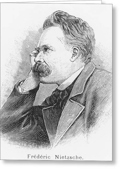 Philosopher Greeting Cards - Friedrich Wilhelm Nietzsche Greeting Card by French School