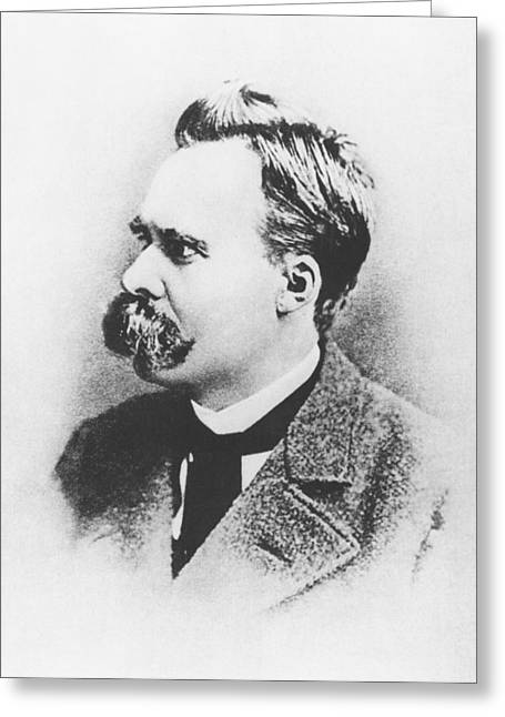 Moustache Greeting Cards - Friedrich Wilhelm Nietzsche in 1883 Greeting Card by German Photographer