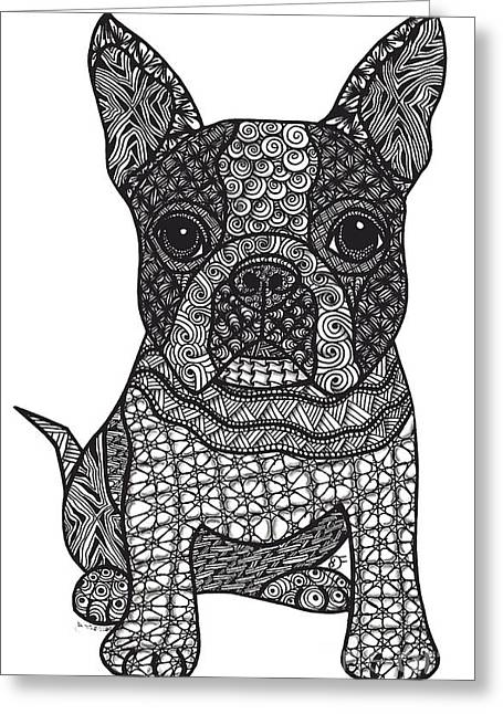 Puppies Mixed Media Greeting Cards - Friend - Boston Terrier Greeting Card by Dianne Ferrer