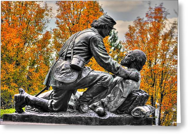 Third Day Of Battle Greeting Cards - Friend to Friend - A Brotherhood Undivided - The Masonic Memorial at Gettysburg Close-2a Greeting Card by Michael Mazaika
