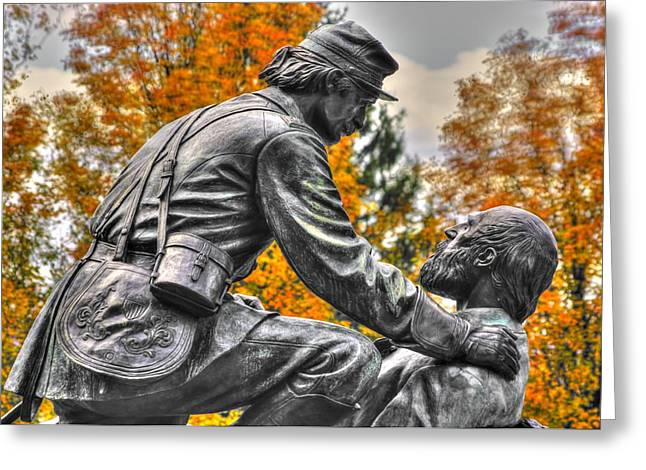 Third Day Of Battle Greeting Cards - Friend to Friend - A Brotherhood Undivided - The Masonic Memorial at Gettysburg Close-2b Greeting Card by Michael Mazaika