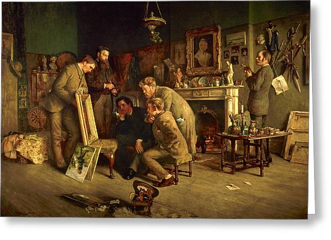 Group Portraits Greeting Cards - Friendly Critics, 1882-83 Oil On Canvas Greeting Card by Charles Martin Hardie