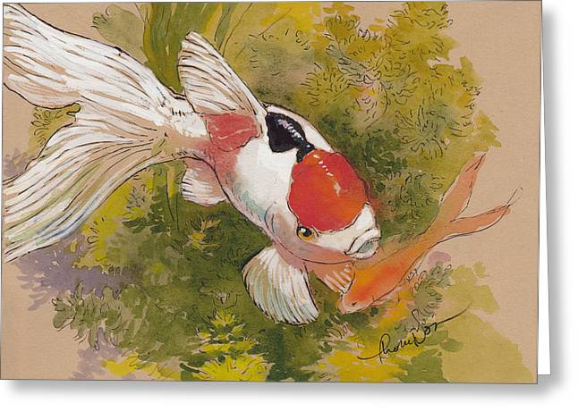 Goldfish Mixed Media Greeting Cards - Friendly Fantail Greeting Card by Tracie Thompson