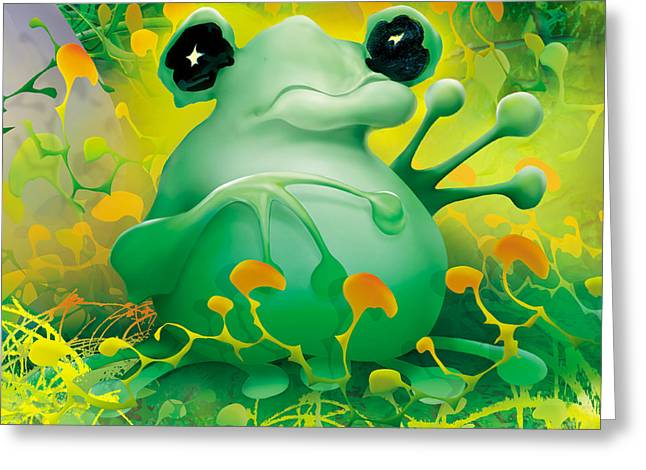 Friendly Frog Greeting Card by Robert Conway