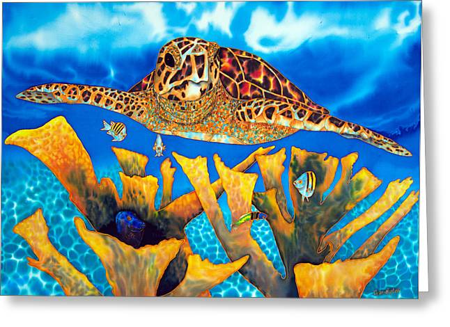 Artwork Tapestries - Textiles Greeting Cards - Friendly Hawksbill Sea Turtle Greeting Card by Daniel Jean-Baptiste