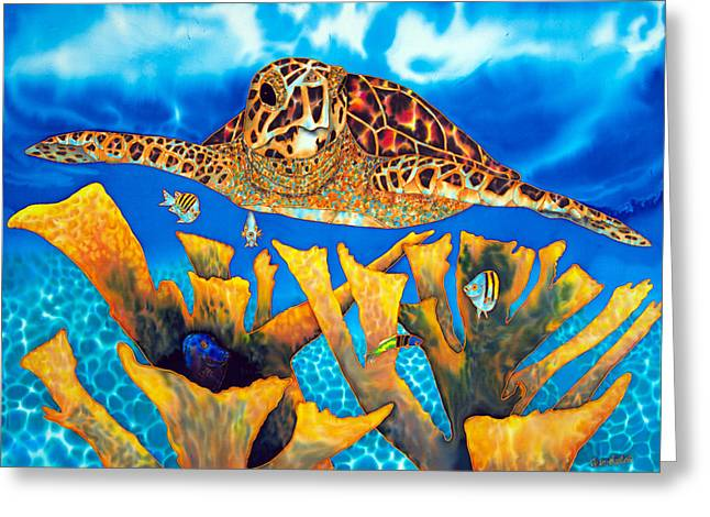 Print Tapestries - Textiles Greeting Cards - Friendly Hawksbill Sea Turtle Greeting Card by Daniel Jean-Baptiste