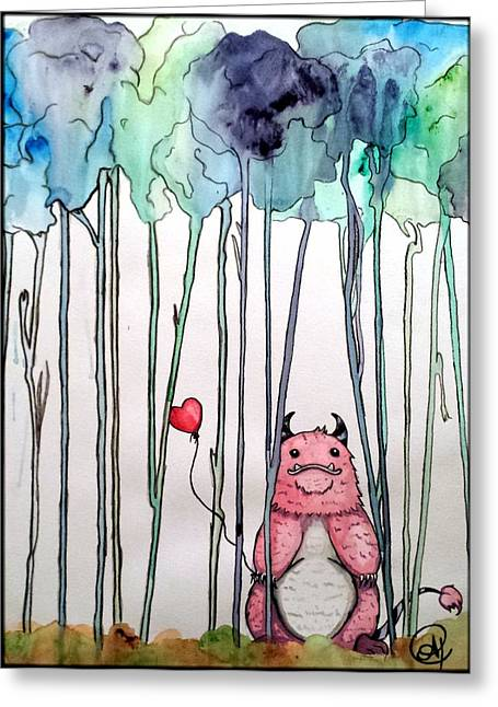 Friendly Monster Greeting Card by Allison Tilberg