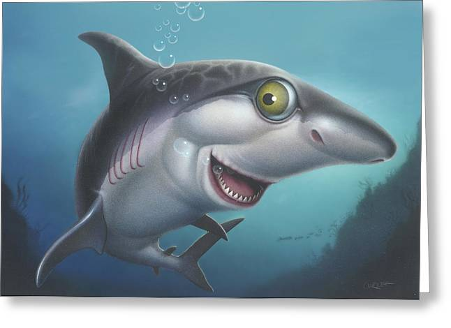Water Themed Paintings Greeting Cards - friendly Shark Blank Greeting Card Greeting Card by Walt Curlee