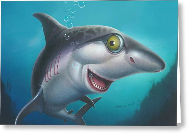 White Shark Paintings Greeting Cards - Friendly Shark Cartoony cartoon - under sea - square format Greeting Card by Walt Curlee