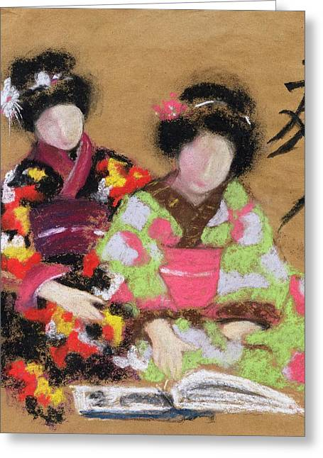 Japanese Photographs Greeting Cards - Friends, 2004 Pastel And Charcoal On Paper Greeting Card by Susan Adams