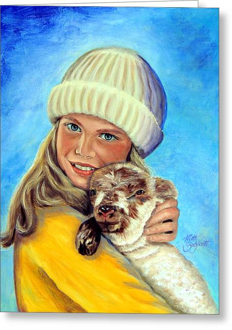 Yellow Sweater Greeting Cards - Friends A Girl and Her Pet Greeting Card by Ruth Bodycott