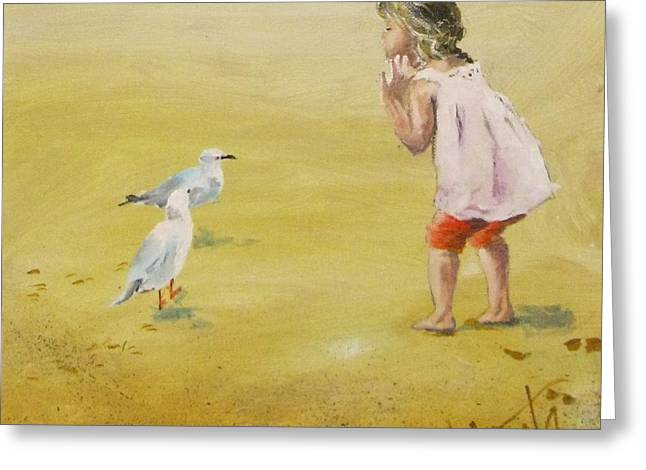 Seagulls On The Sand Greeting Cards - Friends Greeting Card by Almeta LENNON