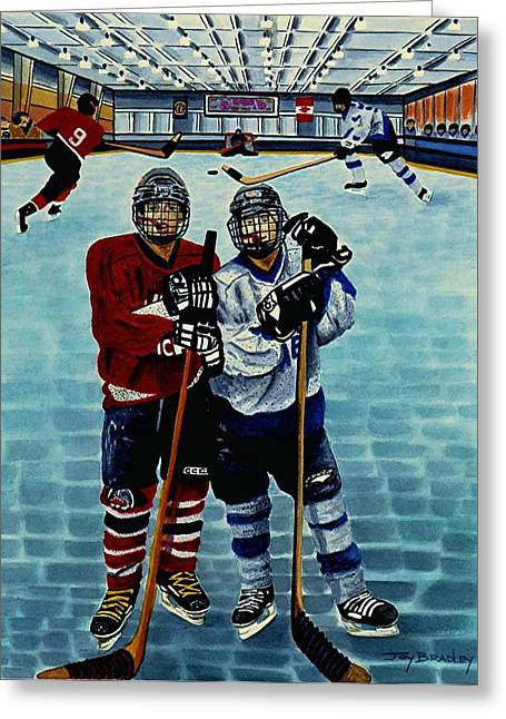 Hockey Equipment Greeting Cards - Friends and Foes Greeting Card by Joy Bradley