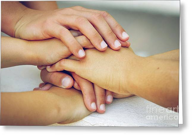Friends Hands Greeting Card by Carlos Caetano
