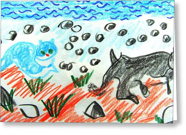 Sandy Beaches Drawings Greeting Cards - Friends on the Beach Greeting Card by Anita Dale Livaditis