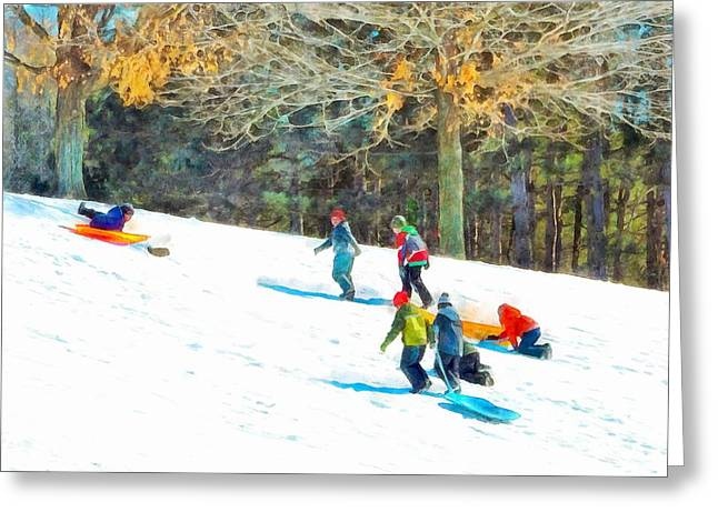 Action Ski Art Greeting Cards - Friends on the Slope Greeting Card by Helene Guertin