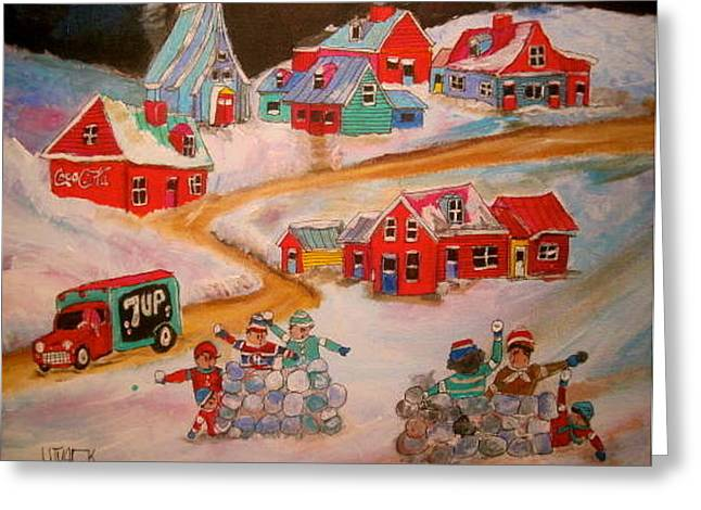 Friend's Snowball Fight Montreal Memories Greeting Card by Michael Litvack