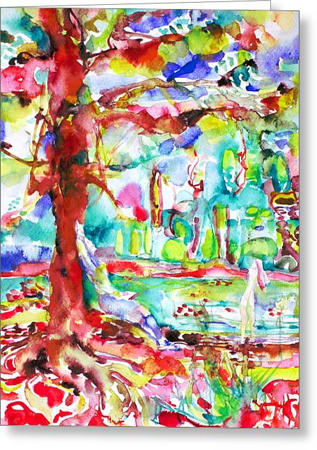 Tree Roots Paintings Greeting Cards - Friends That Never Argued Greeting Card by Fabrizio Cassetta