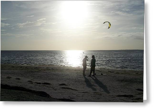 Kite Surfing Greeting Cards - Friends Watching Greeting Card by Nancy  Hopkins