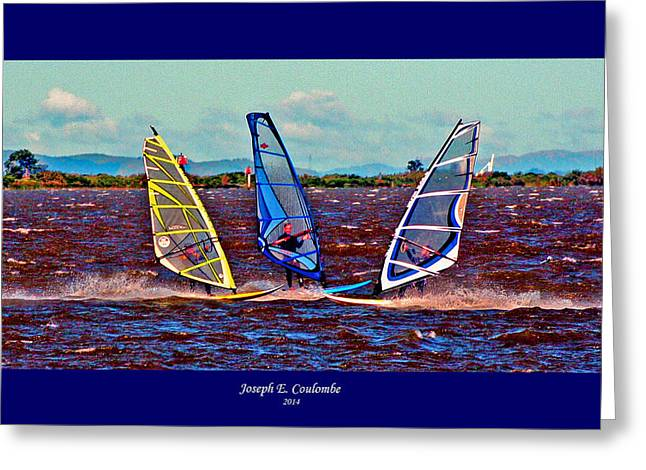 Wind Surfing Art Greeting Cards - Friends Windsurfing Greeting Card by Joseph Coulombe