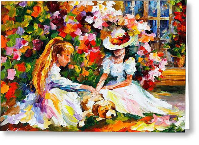Friends With A Dog Greeting Card by Leonid Afremov