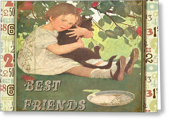 Kitten Prints Greeting Cards - Friendship-D Greeting Card by Jean Plout