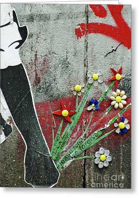 Urbano Greeting Cards - Friendship Flowers Graffiti Art Greeting Card by AdSpice Studios