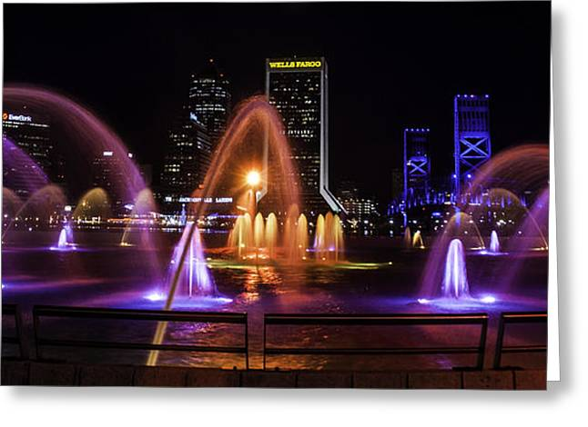 Jacksonville Pyrography Greeting Cards - Friendship Fountain  Greeting Card by Alex Heath