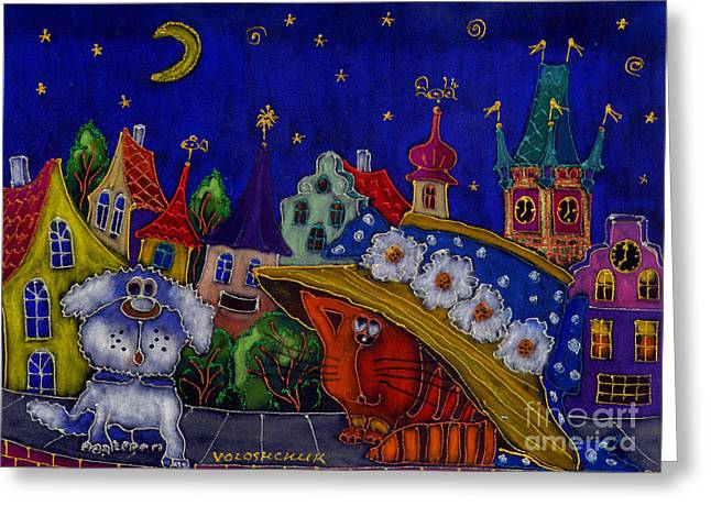 Prague Paintings Greeting Cards - Friendship Greeting Card by Galyna Voloshchuk