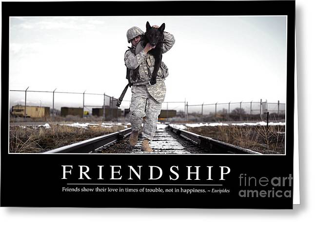 Love The Animal Greeting Cards - Friendship Inspirational Quote Greeting Card by Stocktrek Images