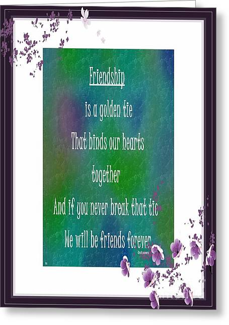 Ties That Bind Greeting Cards - Friendship is a Golden Tie Greeting Card by Barbara Griffin