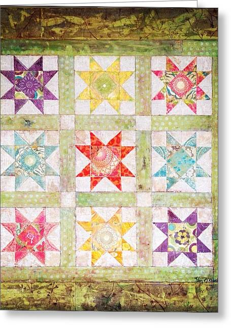 Log Cabin Mixed Media Greeting Cards - Friendship quilt squares Greeting Card by Amy Wyatt
