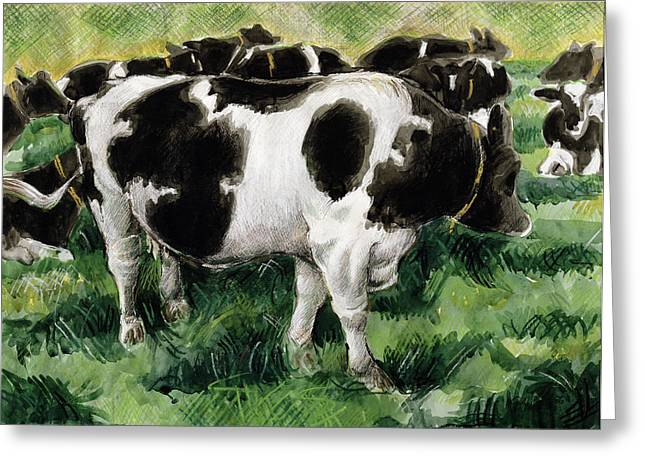 Pasture Scenes Paintings Greeting Cards - Friesian Cows Greeting Card by Gareth Lloyd Ball