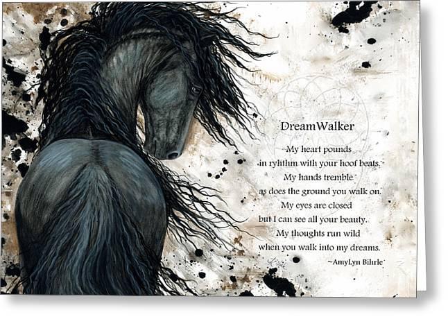 Equine Fine Art Greeting Cards - Friesian DreamWalker Horse Greeting Card by AmyLyn Bihrle