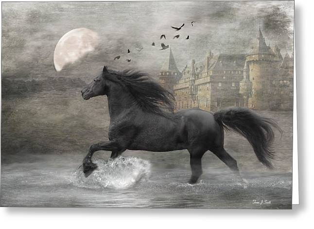 Horses Art Print Greeting Cards - Friesian Fantasy Greeting Card by Fran J Scott