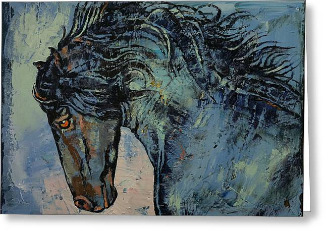 Cheval Greeting Cards - Friesian Stallion Greeting Card by Michael Creese