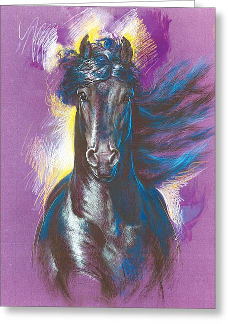 Clips Greeting Cards - Friesian Horse Variant 1 Greeting Card by Zorina Baldescu
