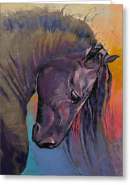 Cheval Greeting Cards - Friesian Greeting Card by Michael Creese