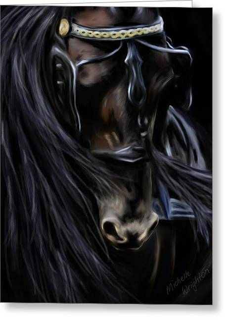 Pet Portrait Artist Greeting Cards - Friesian Spirit Greeting Card by Michelle Wrighton
