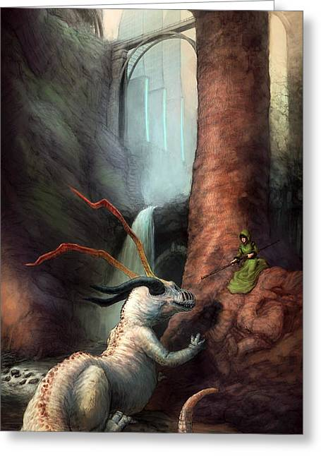 Large Women Greeting Cards - Frigga and the Water Dragon Greeting Card by Ethan Harris
