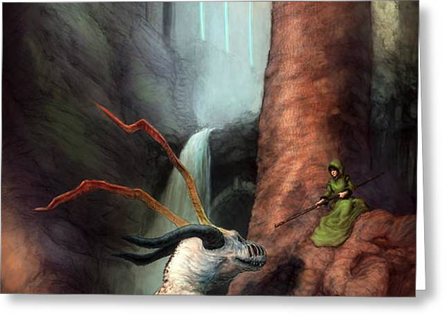 Frigga and the Water Dragon Greeting Card by Ethan Harris
