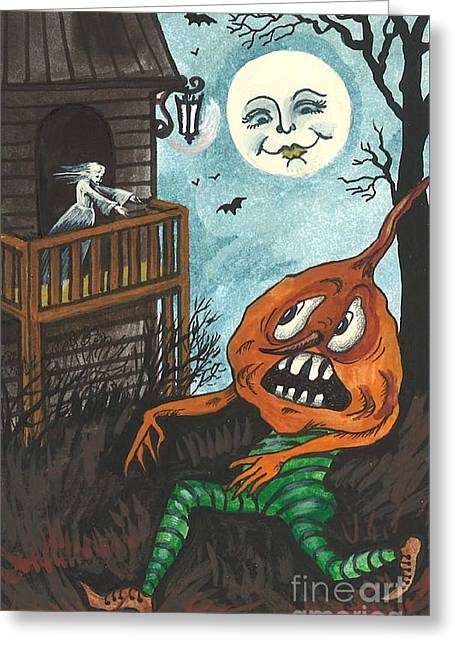 Pajamas Greeting Cards - Frightened Pumpkinhead Greeting Card by Margaryta Yermolayeva