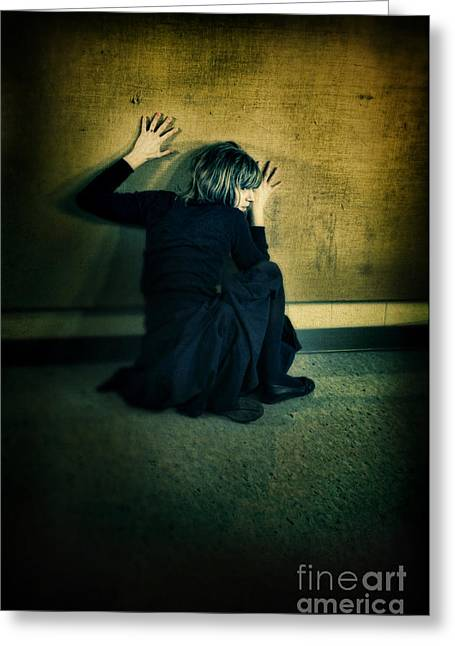 Frightened Woman Greeting Card by Jill Battaglia