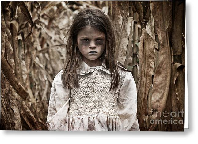 Book Cover Art Greeting Cards - Frightening Cornfield Girl Greeting Card by Jt PhotoDesign