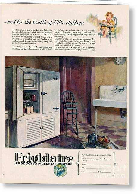 Twentieth Century Greeting Cards - Frigidaire 1926 1920s Usa Cc Fridges Greeting Card by The Advertising Archives