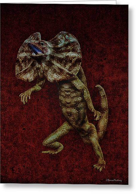 Terrible Greeting Cards - Frilled Lizard Greeting Card by Ramon Martinez
