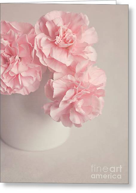 Interior Still Life Digital Art Greeting Cards - Frilly pink Carnations Greeting Card by Lyn Randle